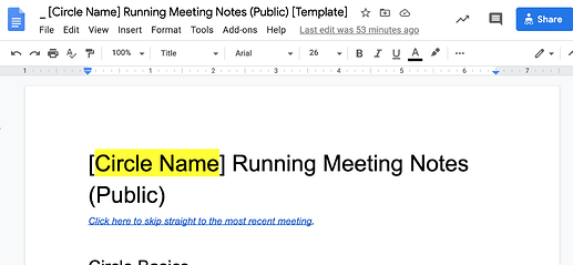 Screenshot of Circle Name Running Meeting Notes (Public) Template (8-24-20, 12-43-05 PM)