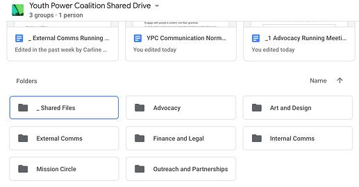 Screenshot of Youth Power Coalition Shared Drive folders (8-24-20, 12-44-14 PM)